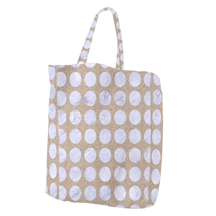 CIRCLES1 WHITE MARBLE & SAND Giant Grocery Zipper Tote