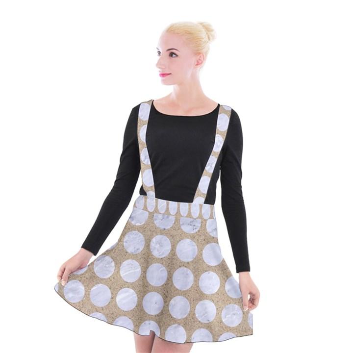 CIRCLES1 WHITE MARBLE & SAND Suspender Skater Skirt