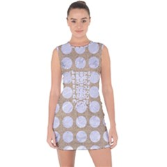 Circles1 White Marble & Sand Lace Up Front Bodycon Dress
