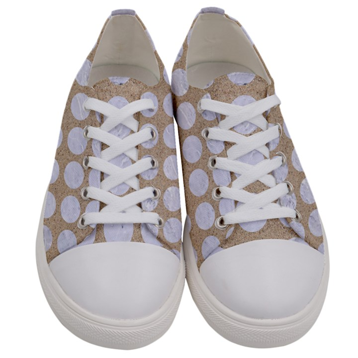 CIRCLES1 WHITE MARBLE & SAND Women s Low Top Canvas Sneakers