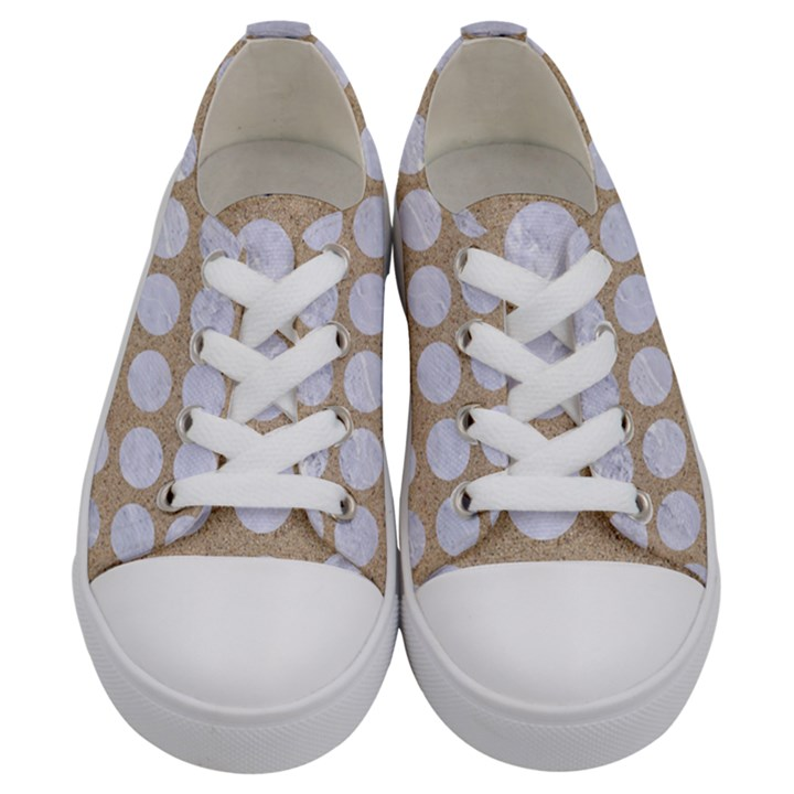 CIRCLES1 WHITE MARBLE & SAND Kids  Low Top Canvas Sneakers