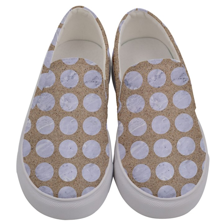 CIRCLES1 WHITE MARBLE & SAND Men s Canvas Slip Ons