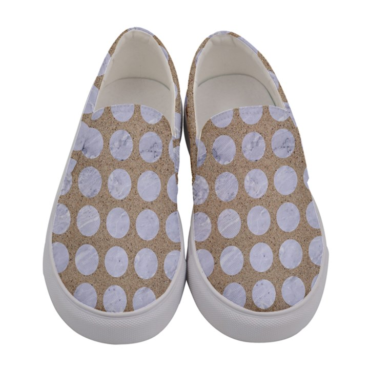 CIRCLES1 WHITE MARBLE & SAND Women s Canvas Slip Ons