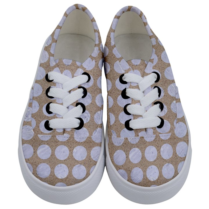 CIRCLES1 WHITE MARBLE & SAND Kids  Classic Low Top Sneakers