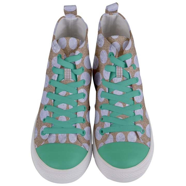 CIRCLES1 WHITE MARBLE & SAND Women s Mid-Top Canvas Sneakers