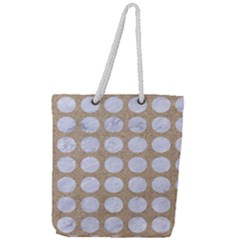 Circles1 White Marble & Sand Full Print Rope Handle Tote (large)