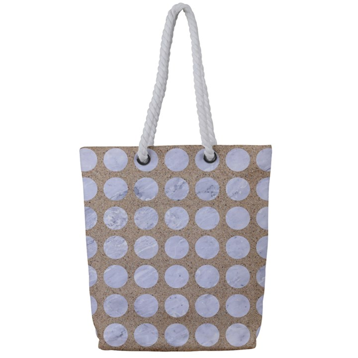 CIRCLES1 WHITE MARBLE & SAND Full Print Rope Handle Tote (Small)
