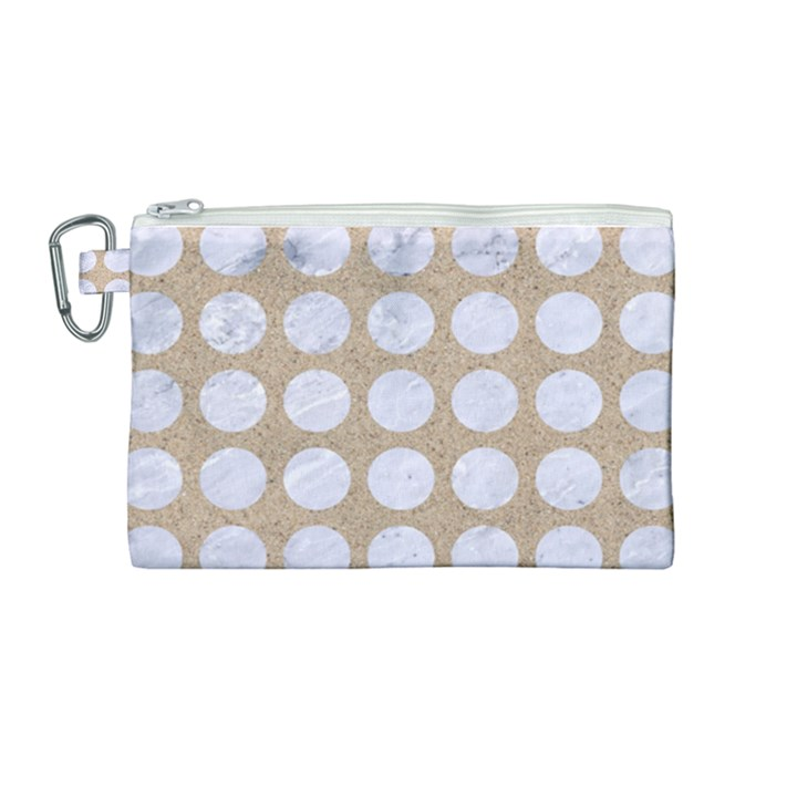 CIRCLES1 WHITE MARBLE & SAND Canvas Cosmetic Bag (Medium)