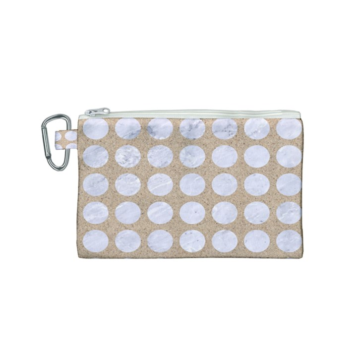 CIRCLES1 WHITE MARBLE & SAND Canvas Cosmetic Bag (Small)