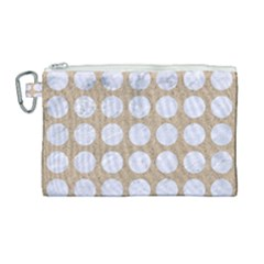 Circles1 White Marble & Sand Canvas Cosmetic Bag (large)