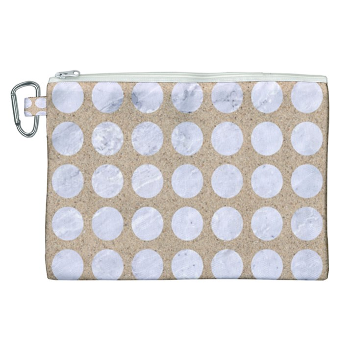 CIRCLES1 WHITE MARBLE & SAND Canvas Cosmetic Bag (XL)
