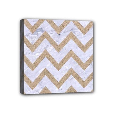 Chevron9 White Marble & Sand (r) Mini Canvas 4  X 4