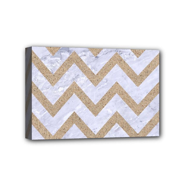 CHEVRON9 WHITE MARBLE & SAND (R) Mini Canvas 6  x 4