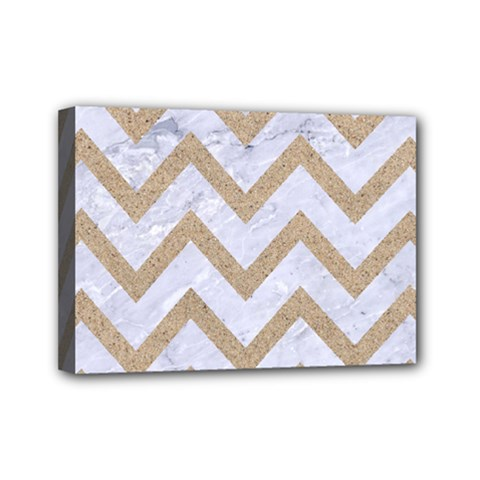 Chevron9 White Marble & Sand (r) Mini Canvas 7  X 5