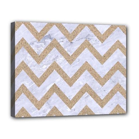 Chevron9 White Marble & Sand (r) Canvas 14  X 11