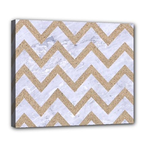 Chevron9 White Marble & Sand (r) Deluxe Canvas 24  X 20
