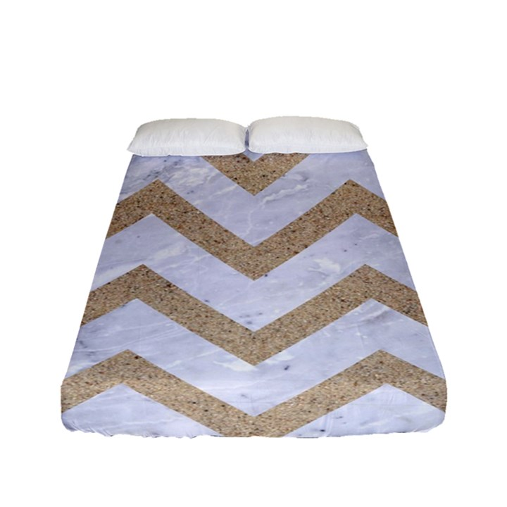 CHEVRON9 WHITE MARBLE & SAND (R) Fitted Sheet (Full/ Double Size)