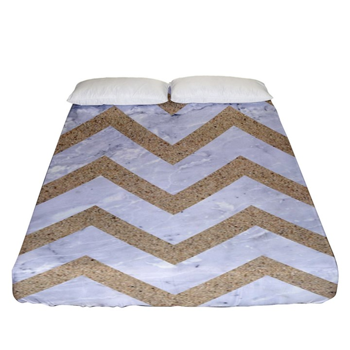 CHEVRON9 WHITE MARBLE & SAND (R) Fitted Sheet (King Size)