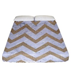 Chevron9 White Marble & Sand (r) Fitted Sheet (california King Size)