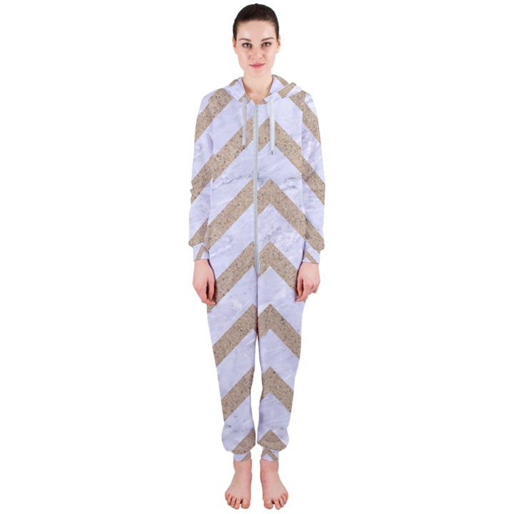CHEVRON9 WHITE MARBLE & SAND (R) Hooded Jumpsuit (Ladies)