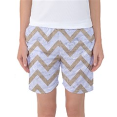 Chevron9 White Marble & Sand (r) Women s Basketball Shorts