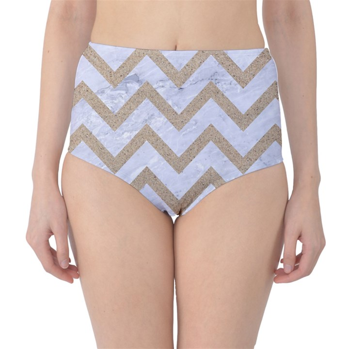 CHEVRON9 WHITE MARBLE & SAND (R) High-Waist Bikini Bottoms