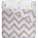 CHEVRON9 WHITE MARBLE & SAND (R) Duvet Cover Double Side (King Size) View1