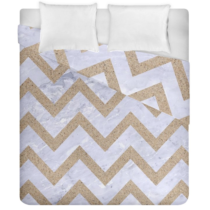 CHEVRON9 WHITE MARBLE & SAND (R) Duvet Cover Double Side (California King Size)