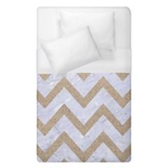 Chevron9 White Marble & Sand (r) Duvet Cover (single Size)