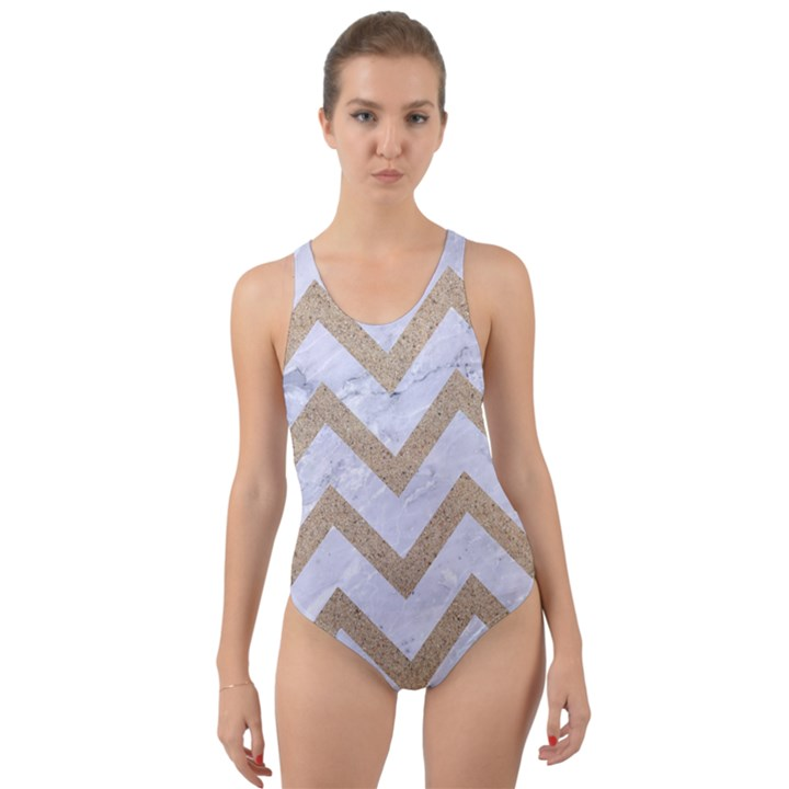 CHEVRON9 WHITE MARBLE & SAND (R) Cut-Out Back One Piece Swimsuit