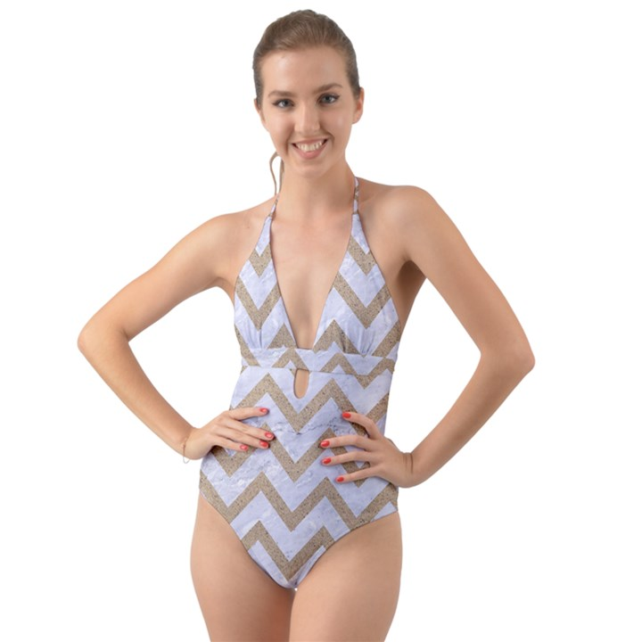 CHEVRON9 WHITE MARBLE & SAND (R) Halter Cut-Out One Piece Swimsuit