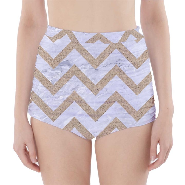 CHEVRON9 WHITE MARBLE & SAND (R) High-Waisted Bikini Bottoms