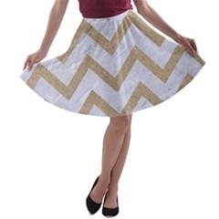 Chevron9 White Marble & Sand (r) A Line Skater Skirt