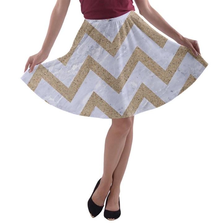 CHEVRON9 WHITE MARBLE & SAND (R) A-line Skater Skirt