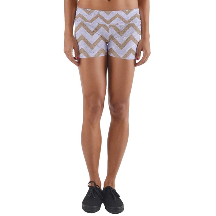 CHEVRON9 WHITE MARBLE & SAND (R) Yoga Shorts