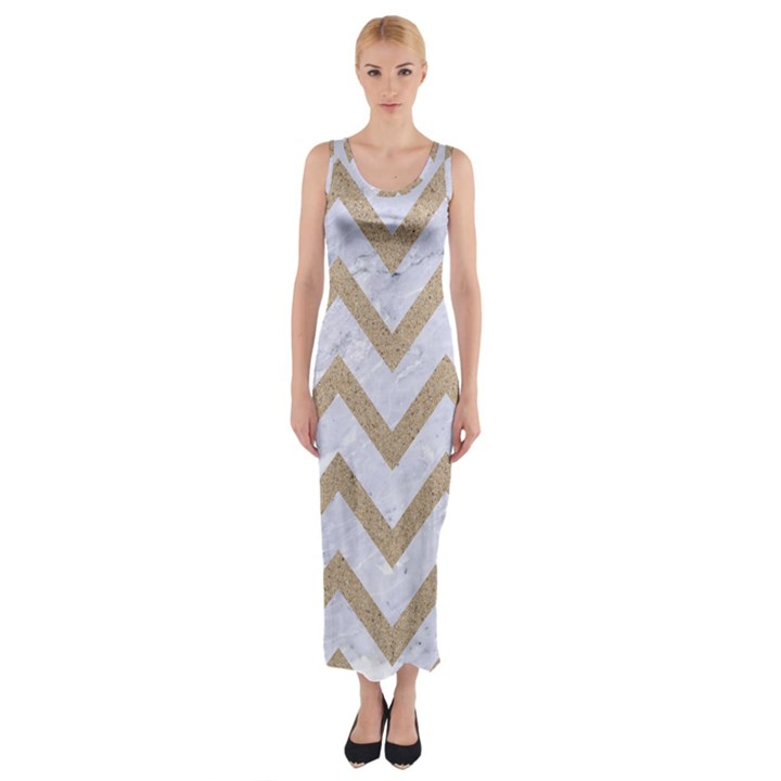 CHEVRON9 WHITE MARBLE & SAND (R) Fitted Maxi Dress