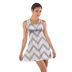 Chevron9 White Marble & Sand (r) Cotton Racerback Dress