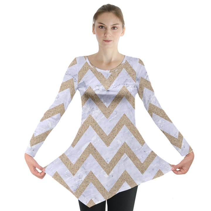 CHEVRON9 WHITE MARBLE & SAND (R) Long Sleeve Tunic
