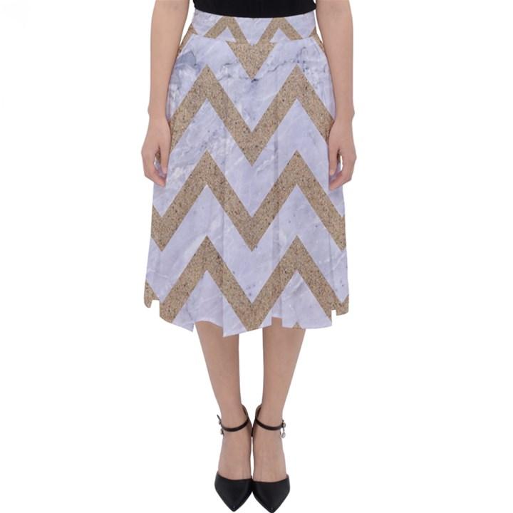 CHEVRON9 WHITE MARBLE & SAND (R) Folding Skater Skirt