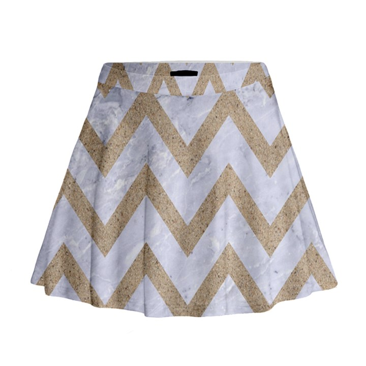 CHEVRON9 WHITE MARBLE & SAND (R) Mini Flare Skirt