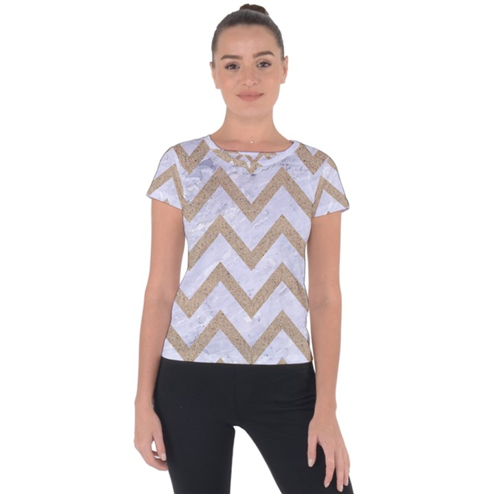 CHEVRON9 WHITE MARBLE & SAND (R) Short Sleeve Sports Top