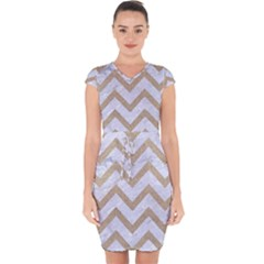 Chevron9 White Marble & Sand (r) Capsleeve Drawstring Dress