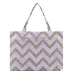 Chevron9 White Marble & Sand (r) Medium Tote Bag