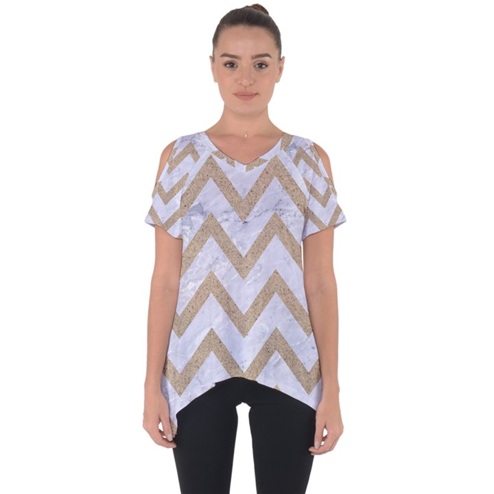 CHEVRON9 WHITE MARBLE & SAND (R) Cut Out Side Drop Tee