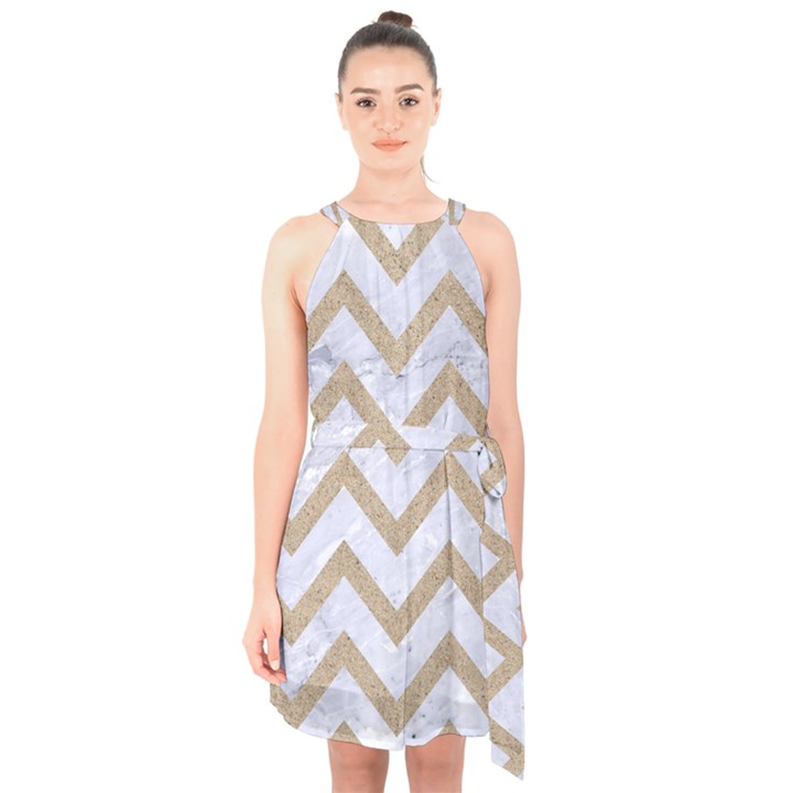 CHEVRON9 WHITE MARBLE & SAND (R) Halter Collar Waist Tie Chiffon Dress