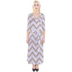 Chevron9 White Marble & Sand (r) Quarter Sleeve Wrap Maxi Dress
