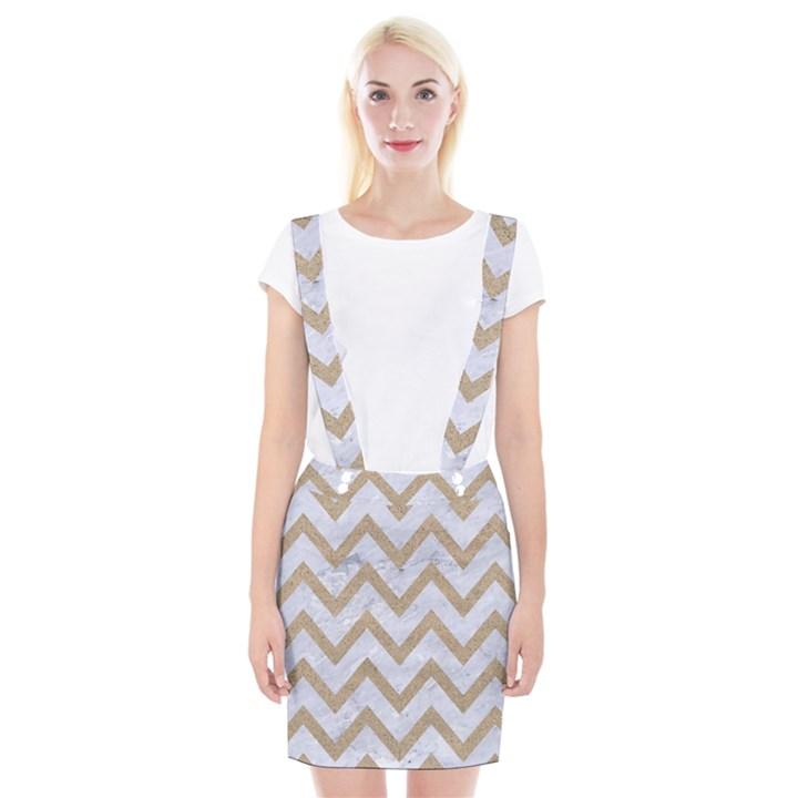 CHEVRON9 WHITE MARBLE & SAND (R) Braces Suspender Skirt