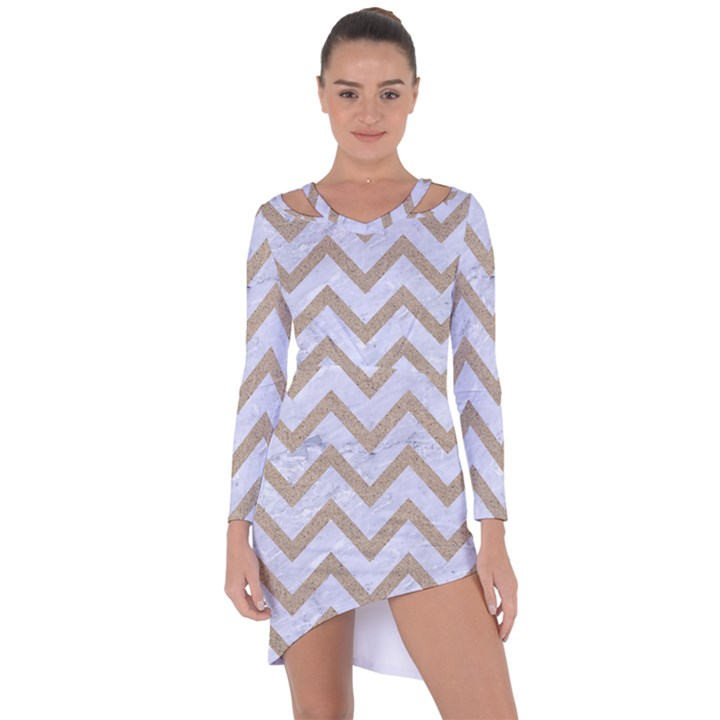 CHEVRON9 WHITE MARBLE & SAND (R) Asymmetric Cut-Out Shift Dress