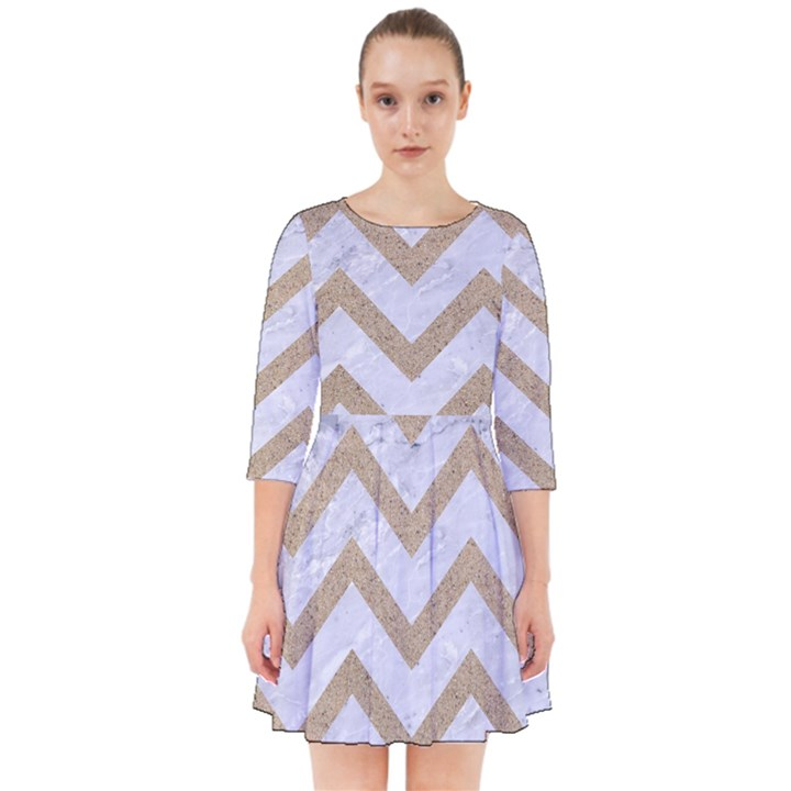 CHEVRON9 WHITE MARBLE & SAND (R) Smock Dress
