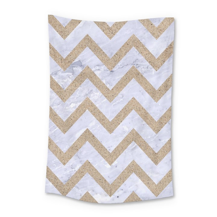 CHEVRON9 WHITE MARBLE & SAND (R) Small Tapestry